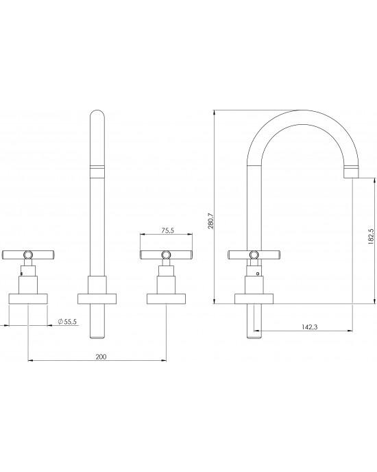 Misturador Banheiro Mesa Bica Alta ¼ Volta Atrium C64 Cromado Esteves VML060CWB