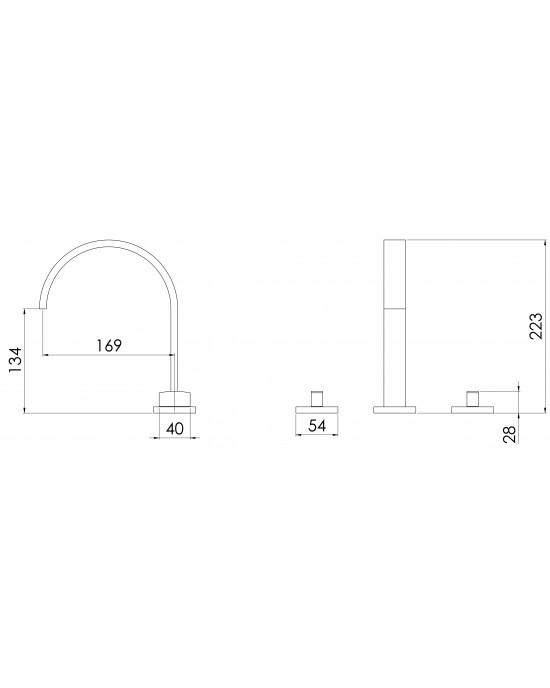 Misturador Banheiro Mesa Bica Alta ¼ Volta Basic C67 Cromado Esteves VML100CWC