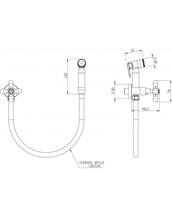 Ducha Higiênica Com Registro Sem Derivação 1984 ¼ Volta Classic C52 Cromado Esteves VAB552CWB