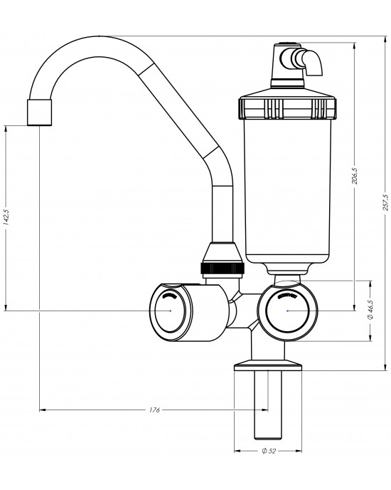 Torneira Cozinha Mesa Com Filtro ABS ¼ Volta Mônaco C40 Cromado Esteves VTF310CWB