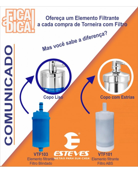 Torneira Cozinha Parede Com Filtro ABS ¼ Volta Alfa C34 Cromado Esteves VTF220CWB