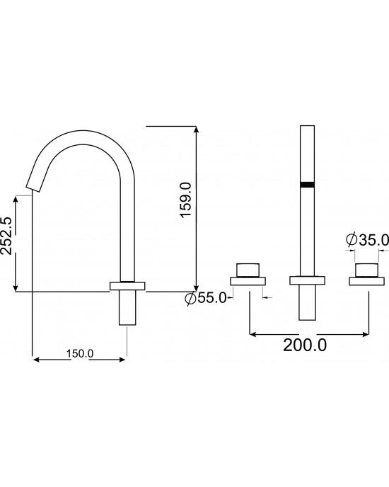 Misturador Banheiro Mesa Bica Alta ¼ Volta Luxor Cromado Esteves VML431CWC