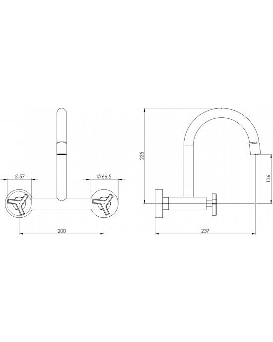 Misturador Cozinha Parede Bica Móvel ¼ Volta 1258 New C66 Cromado Esteves VMP660CWC