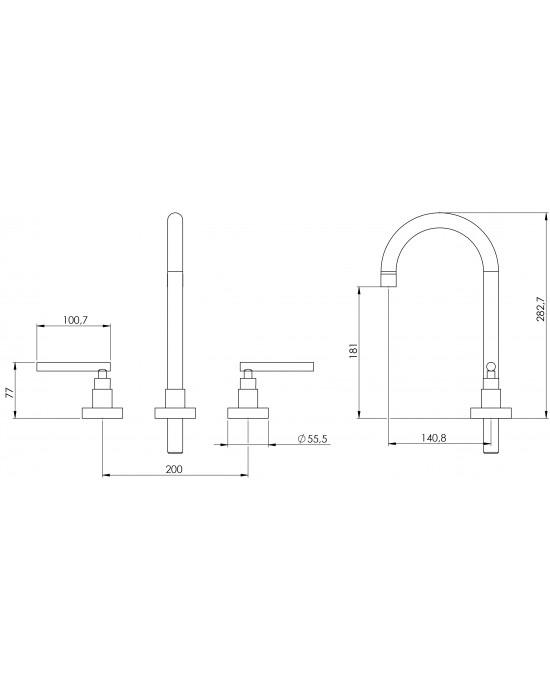 Misturador Banheiro Mesa Bica Alta ¼ Volta Omega C61 Cromado Esteves VML061CWB