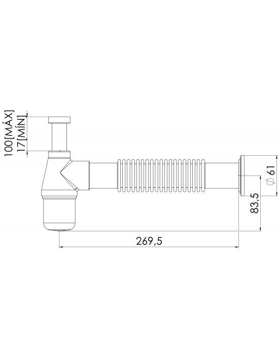 Sifão Lavatório Corrugado 1X1.1/2 Tubo Saída 30cm Dn40 Cromado Esteves VSM180CWB
