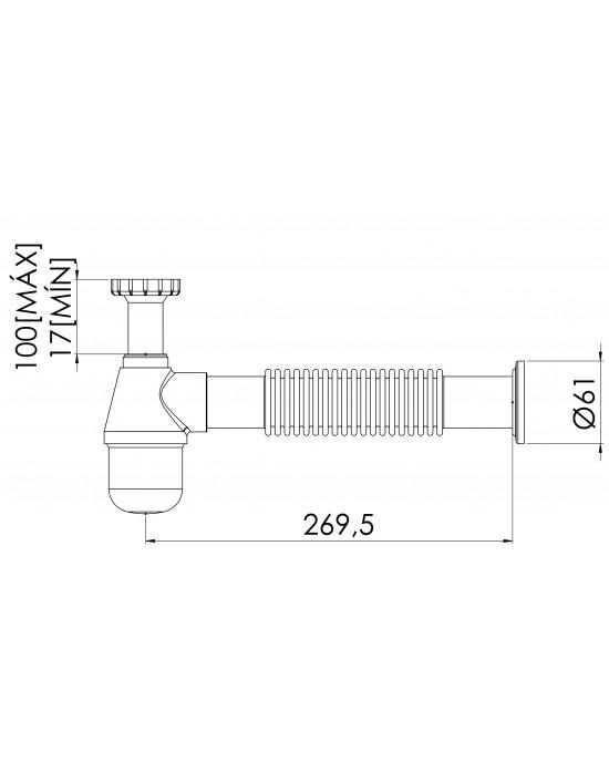 """Sifão Cozinha Corrugado 1.1/2X2 Tubo Saida 40cm Dn50 Cromado Esteves  VSM182CWB-TS40 - com luva adaptável para 2"""""""