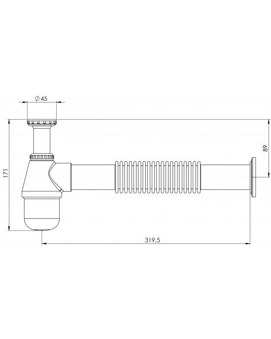 """Sifão Tanque Corrugado Europa 1.1/4X2 Tubo Saída 20cm Cromado Esteves VSM186CWB - com luva adaptável para 2"""""""