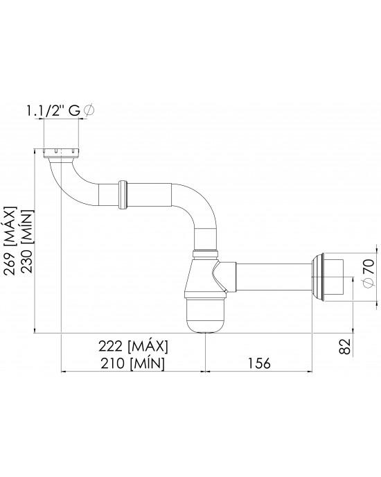 Sifão Cozinha Cruzado Regulável 1.1/2X1.1/2 Cromado Esteves VSC030CWC
