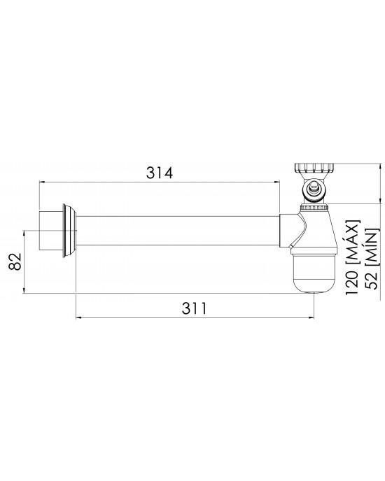 """Sifão Cozinha Regulável com Entrada Lateral Maq Lavar 1.1/2 X2 Cromado Esteves VSM025SWG - com luva adaptável para 2"""""""
