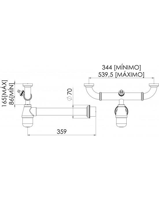 Sifão Cozinha Duplo Regulável com Entrada Lateral Maq Lavar 1.1/2X1.1/2 Cromado Esteves VSM027SWC