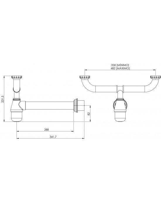 """Sifão Cozinha Duplo Regulável com Entrada Lateral Maq Lavar 1.1/2X2 Cromado Esteves VSM029SWC - com luva adaptável para 2"""""""