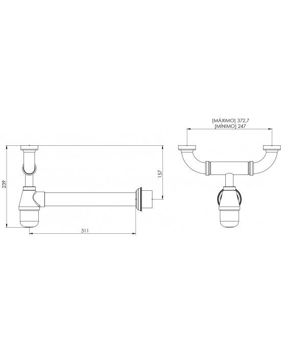 """Sifão Cozinha Duplo Regulável 1.1/2x2 Entre-Eixos 29Cm Cromado Esteves VSM076CWC - com luva adaptável para 2"""""""