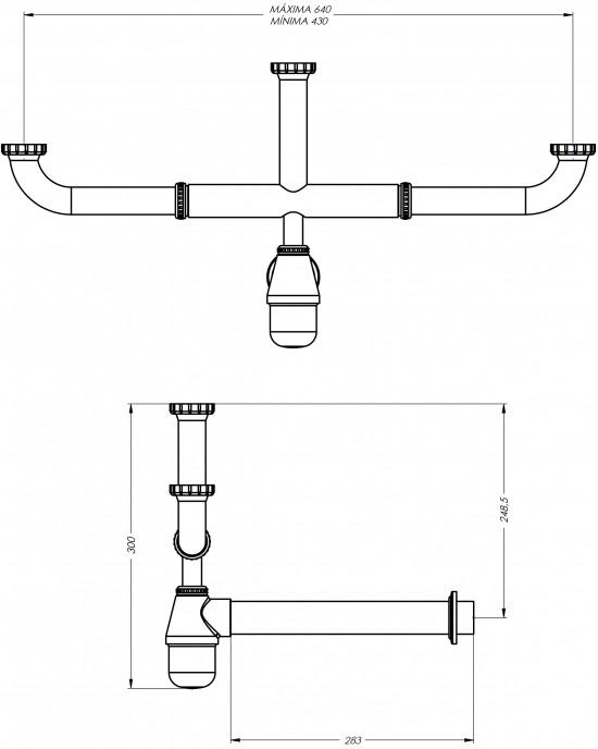 """Sifão Cozinha Triplo Cuba Desnível 1.1/2X2 Cromado Esteves VSM606CWC - com luva adaptável para 2"""""""