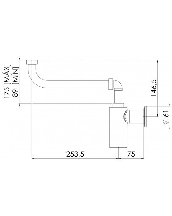Sifão Lavatório Compacto Articulado 1X1.1/2 Cromado Esteves VSM700CWC