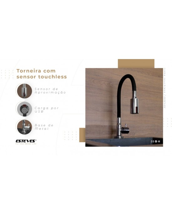 Torneira Sensorizada para Cozinha Touchless Esteves - Mesa VTA200CWC