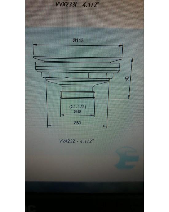 Válvula Cozinha 4.1/2X1.1/2 Cromado Esteves VVA232CWB